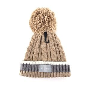 Calvin Klein Pom Pom Cable-Knit Color Block Beanie